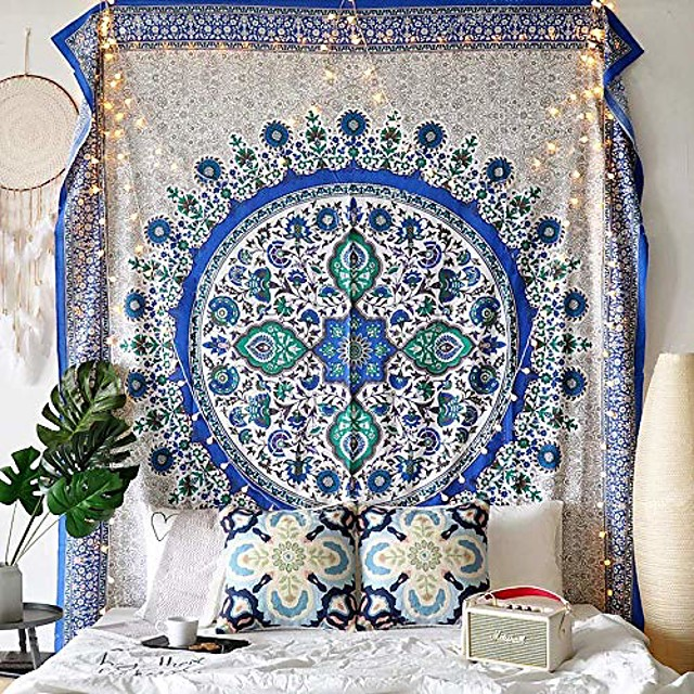 Mandala Bohemian Wall Tapestry Art Decor Blanket Curtain Picnic Tablecloth Hanging Home Bedroom Living Room Dorm Decoration Boho Hippie Psychedelic Floral Flower Lotus