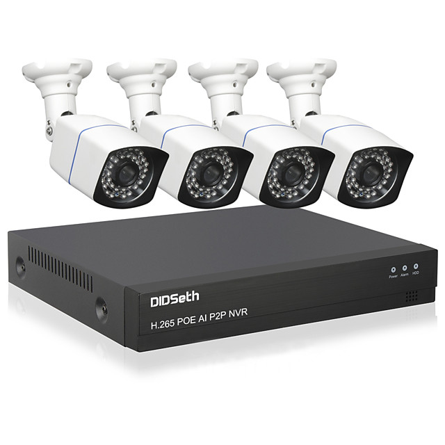 DIDSeth H.265 4CH 5MP POE Security Camera System Kit 4pcs AI IP Camera Outdoor Waterproof CCTV Video Surveillance NVR Set