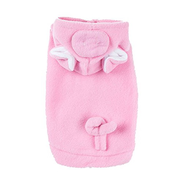 emours pig dog pet halloween costumes dog apparel hoodies with warm fleece pink (small)