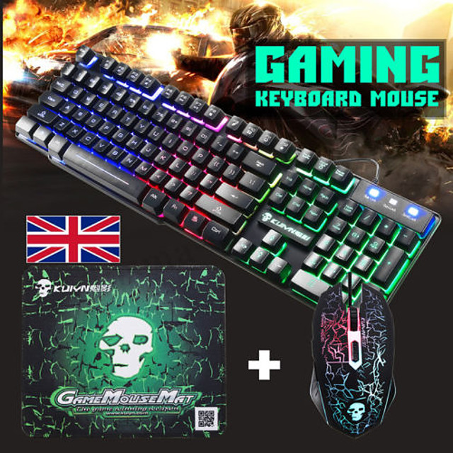 T6 USB Wired Mouse Keyboard Combo Gaming Keyboard 2400 DPI Multimedia Keyboard Gaming Luminous Gaming Mouse  with Mouse Pad