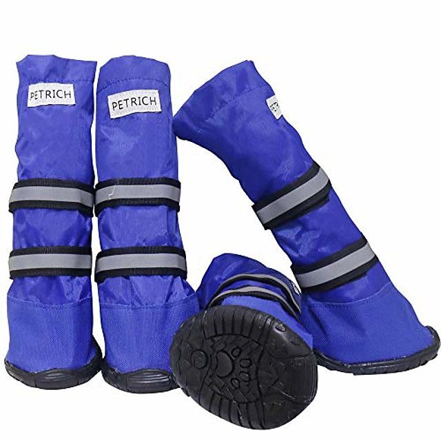 dog boots waterproof shoes for large dogs,dog boots warm lining nonslip rubber sole for snow winter,anti-slip sole pet paw protectors 4pcs (l, blue)