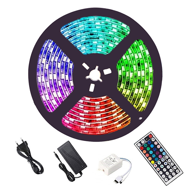 LED Strip Lights 16.4ft 5M RGB 5050 with 44Key IR Remote Control Flexible Color Changing 300 LEDs 10mm Linkable Self-adhesive Tiktok Lights for Home Lighting Kitchen Bed Bar Home Decoration