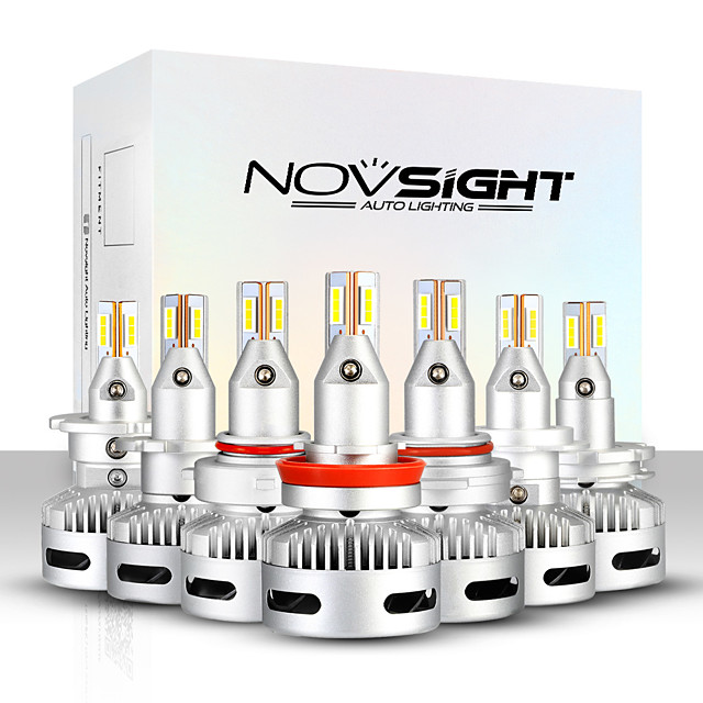 NOVSIGHT LED Car Light Bulbs 2pcs A500-N26 For H7-H11-9005-9012-D1-D2-D5 90W 12000lm LED Headlamps For universal General Motors All years With Set Up video