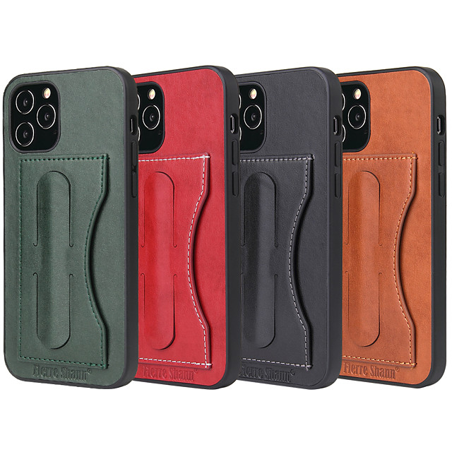 Case For iPhone 12 11 XR SE2020 8 6plus 6splus 7plus 8plus 6 6s 7 X XS XSMax iPhone 11Pro 11 Pro Max Card Holder Shockproof with Stand Back Cover Solid Colored PU Leather TPU