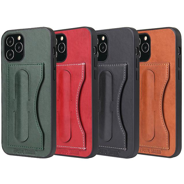 Case For iPhone12 Card Holder Shockproof  Holder Back Cover Solid Colored PU Leather vintage