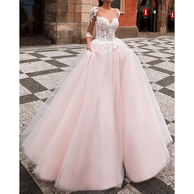 Ball Gown Wedding Dresses Jewel Neck Sweep / Brush Train Lace Tulle Half Sleeve Country with Appliques 2021