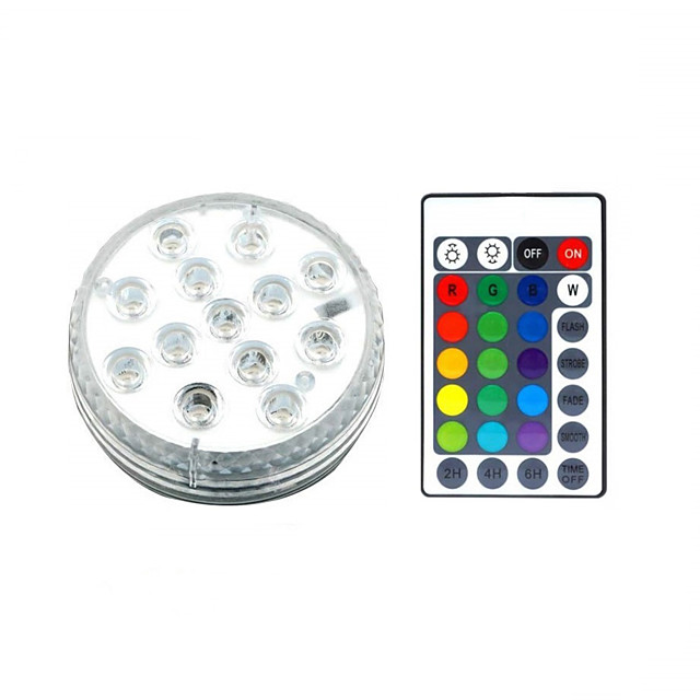 13 LED Submersible Lights Remote Controlled RGB Changing Underwater Waterproof Lights for Swimming Pool Fountain Aquarium Vase Hot Tub Bathtub Party 1Pack