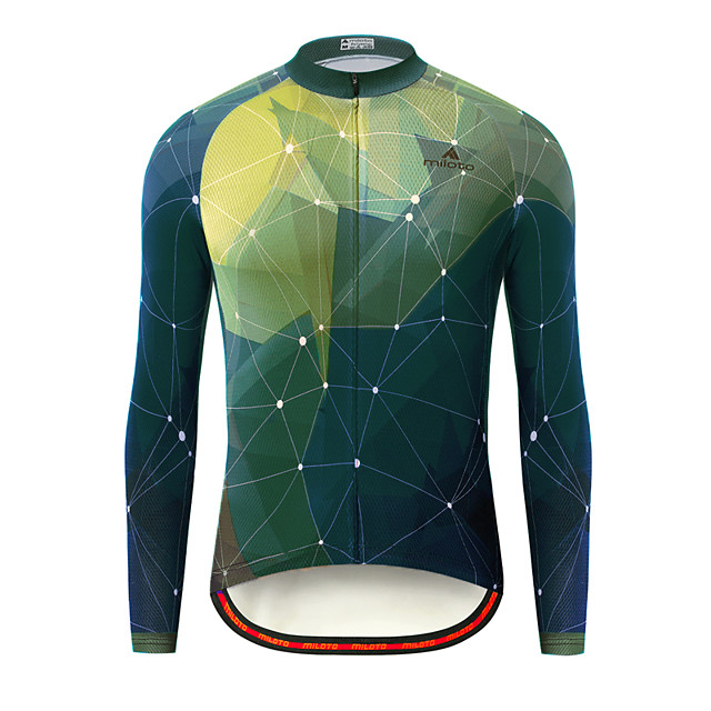 Miloto Men's Long Sleeve Cycling Jersey Green Bike Jersey Top Mountain Bike MTB Road Bike Cycling Breathable Quick Dry Ultraviolet Resistant Sports Clothing Apparel / Stretchy / Italian Ink