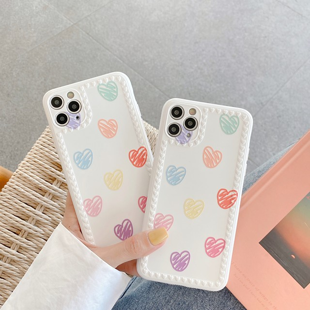 Case For Apple iPhone 11 / iPhone 11 Pro / iPhone 11 Pro Max IMD / Embossed / Pattern Back Cover Tile / Heart TPU