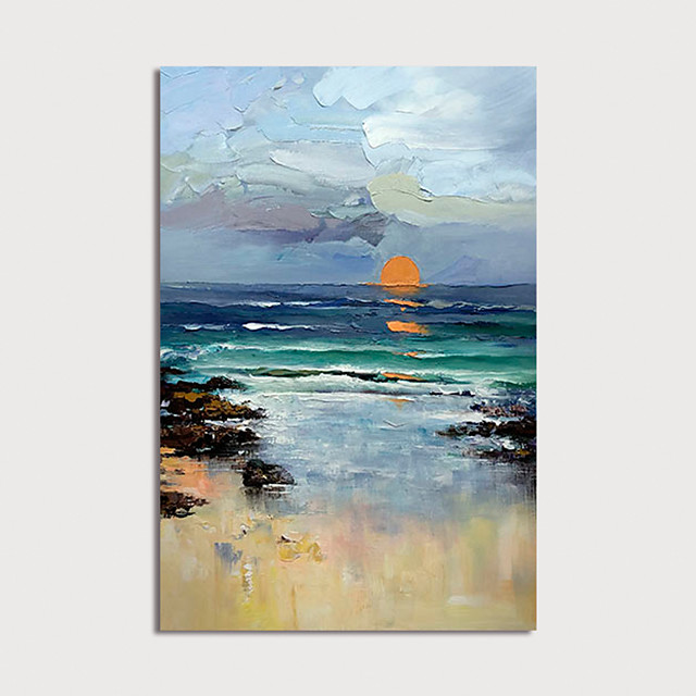 Oil Painting Painting Handmade Abstract Landscape Canvas Art Modern Art with Stretcher Ready to Hang With Stretched Frame