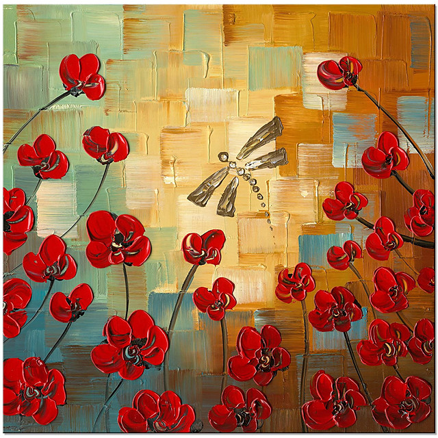 100% Hand Painted Floral Oil Paintings Canvas Wall Art Modern Grace Abstract Flowers Artwork for Living Room Home Decorations Wall Decor Rolled Without Frame