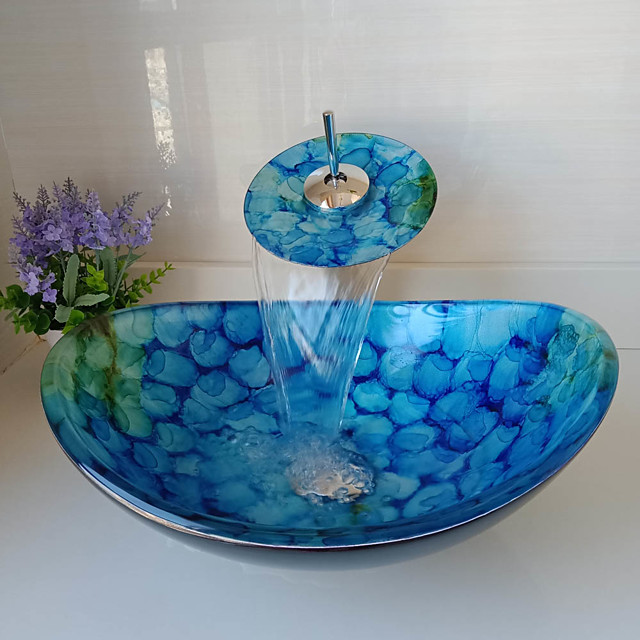 Boat Shape Blue Tempered Glass Vessel Sink with Waterfall Faucet Pop - Up Drain and Mounting Ring