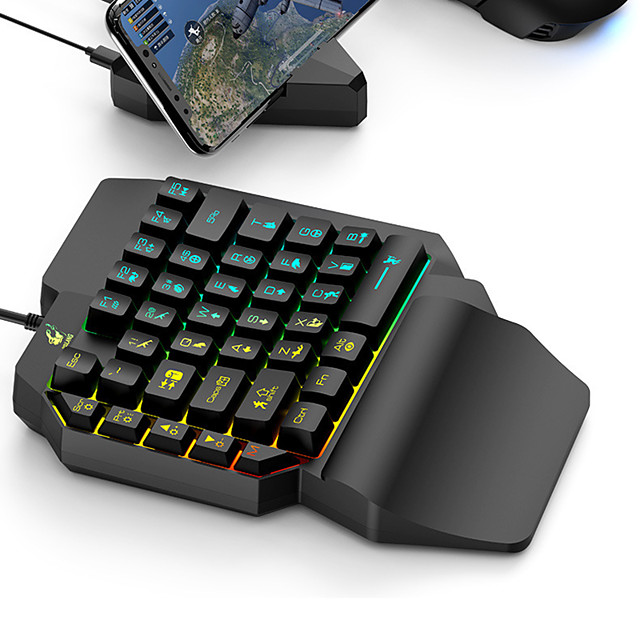 LED Gaming Keypad for Home Office Ergonomic Multicolor Backlight 35 Keys One-handed Membrane Keyboard Kit