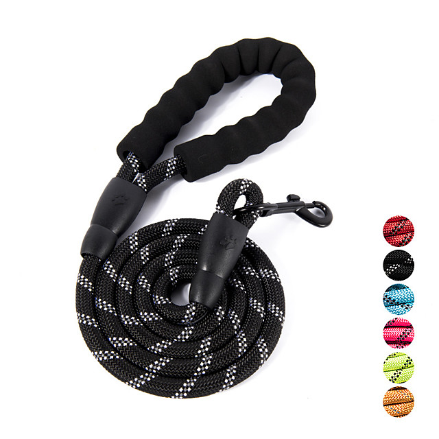 nylon dog leash, strong leash with highly reflective threads for medium large heavy duty dog leads, easy control with short dog leash for climbing training walking and guiding blind