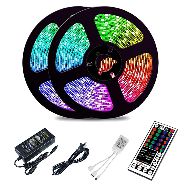 10M LED Strip Lights RGB Tiktok Lights 2835 SMD 600 LED String Tape 44 Key IR Remote control LED Ribbon Tape Under Cabinet Cupboard Decoration