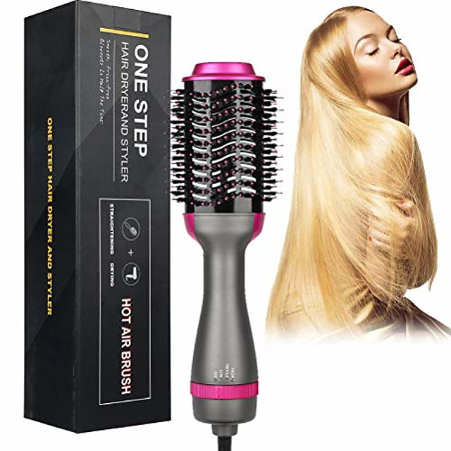 Negative Ion Curler Straightening Comb Hair Dryer Brush One Step 3-in-1 Hot Air Styler and Volumizer, 2 Temperatures 3 Speeds Reduce Frizz and Static Suitable for Long Hair