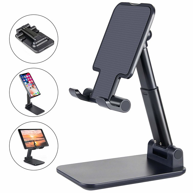 Phone Support For iPhone iPad iPhone SE 2/11/ 11 Pro/XS Max Phone Stand Holder Adjustable Metal Desktop Tablet Holder Upgraded Height Increasing Desk Phone Holder for Cell Phone