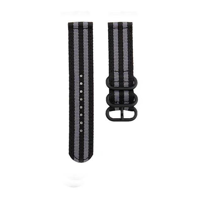 Fashion Watch Band Nylon Strap Black 3 Rings Buckle For Garmin Active / Garmin vivoactive4 Garmin Sport Band / Classic Buckle Nylon Wrist Strap