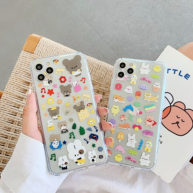 Case For Apple iPhone 7 7P iPhone 8 8P iPhone X iPhone XS XR XS max iPhone 11 11 Pro 11 Pro Max SE Pattern Back Cover Transparent Cartoon TPU