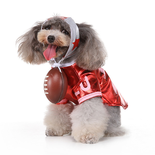 Dog Halloween Costumes Costume Shirt / T-Shirt Letter & Number Casual / Sporty Cool Christmas Party Dog Clothes Breathable Red Costume Polyester S M L XL
