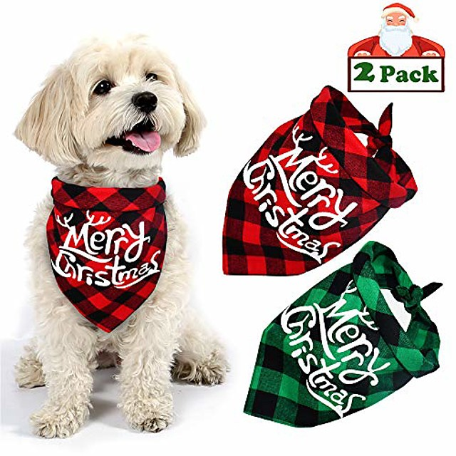 dog christmas bandana, buffalo plaid pet bandana reversible triangle merry christmas bibs accessories for dogs cats pets (merry christmas (red + green))