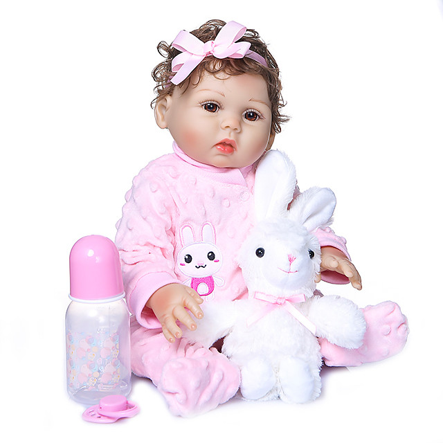 NPKCOLLECTION 20 inch Reborn Doll Baby Girl Gift Hand Made Artificial Implantation Brown Eyes Full Body Silicone Silicone Silica Gel with Clothes and Accessories for Girls' Birthday and Festival Gifts