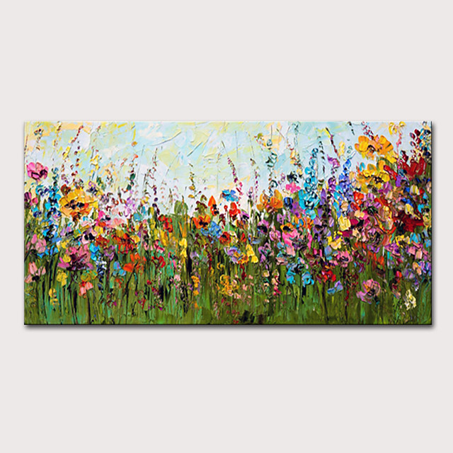 Mintura Hand Painted Knife Flowers Landscape Oil Paintings on Canvas Modern Abstract Wall Picture Art Posters For Home Decoration Ready To Hang With Stretched Frame