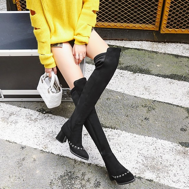 Women's Boots Block Heel Boots Wedge Heel Pointed Toe Over The Knee Boots Classic Daily PU Solid Colored Black
