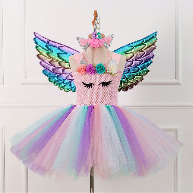 Unicorn Dress Party Costume Girls' Movie Cosplay Tutus Braided / Cord Vacation Dress Golden / Pink / Green Dress Wings Headwear Christmas Halloween Carnival Polyester / Cotton Polyester