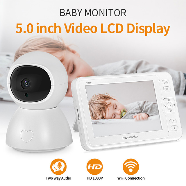 Baby Sleeping Monitor 4.3'' High Resolution Baby Monitor Infrared Night Vision Wireless Video with Remote Camera Pan-Tilt-Zoom