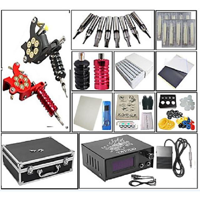 Professional Tattoo Kit Tattoo Machine - 2 pcs Tattoo Machines, Dynamics Adjustable / Adjustable Voltage / Kits Cast Iron # 2 cast iron machine liner & shader / Coil Tattoo Machine