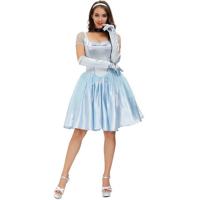 Movie / TV Theme Costumes Cosplay Costume Costume Women's Movie Cosplay Retro Princess Vacation Dress Blue Dress Gloves Headband Christmas Halloween Carnival Polyester / Cotton