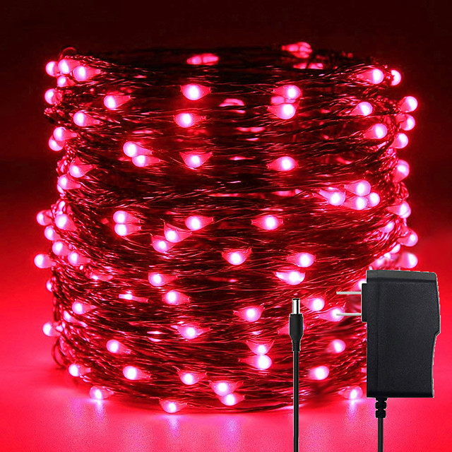 Minetom Fairy Lights Strip 33Ft 100 LED Waterproof Firefly Lights on Copper Wire with DC12V Adaptor IncludedStarry String Lights for Wedding Indoor Outdoor Christmas Patio Garden Decoration
