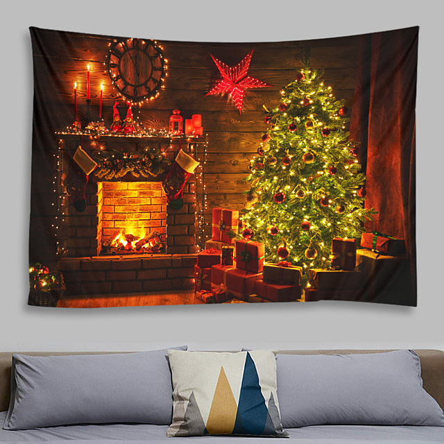 Christmas Santa Claus Wall Tapestry Art Decor Blanket Curtain Picnic Tablecloth Hanging Home Bedroom Living Room Dorm Decoration Chimney Fireplace Wooden Board Christmas Tree Gift Polyeste