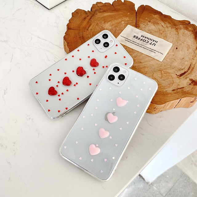 Case For Apple iPhone 7 7P iPhone 8 8P iPhone X iPhone XS XR XS max iPhone 11 11 Pro 11 Pro Max Pattern Back Cover Heart Transparent TPU