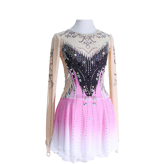 Figure Skating Dress Women's Girls' Ice Skating Dress Pink Glitter Patchwork Spandex High Elasticity Competition Skating Wear Handmade Crystal / Rhinestone Long Sleeve Ice Skating Winter Sports