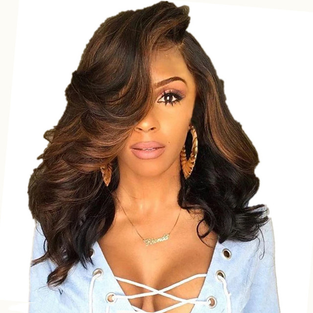 Synthetic Wig Body Wave Loose Curl Asymmetrical Wig Short Dark Brown Synthetic Hair 18 inch Women's Fashionable Design Easy to Carry Fluffy Dark Brown