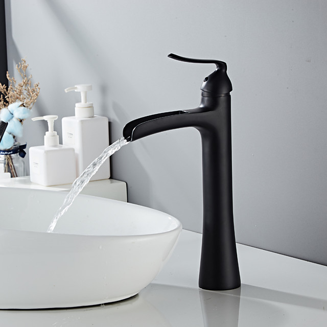 βρύση νεροχύτη μπάνιου - φινιρίσματα από καταρράκτη με κεντρική λαβή με μία βρύση
