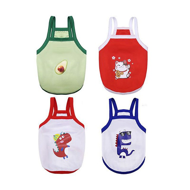 Dog Cat Vest Animal Character Cute Dog Clothes Puppy Clothes Dog Outfits White Red Green Costume for Girl and Boy Dog Polyester XS S M L XL XXL