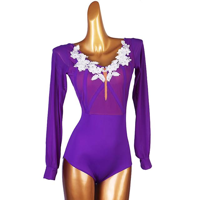 Ballroom Dance Leotard / Onesie Appliques Women's Performance Long Sleeve Spandex