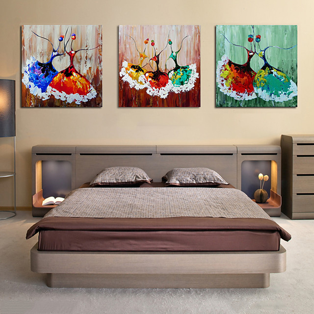 Oil Painting Hand Painted - Abstract People Comtemporary Modern Rolled Canvas (No Frame) / Three Panels