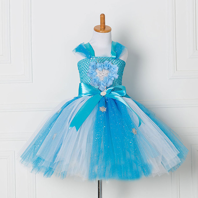 Princess Cosplay Costume Costume Girls' Movie Cosplay Tutus Plaited Vacation Dress Blue Dress Christmas Halloween Carnival Polyester / Cotton Polyester