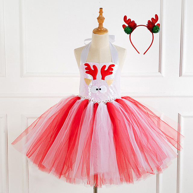 Reindeer Cosplay Costume Costume Girls' Movie Cosplay Tutus Vacation Dress Christmas Pink / Coffee Dress Headwear Christmas Halloween Carnival Polyester / Cotton Polyester