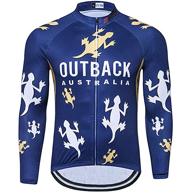 21Grams Men's Long Sleeve Cycling Jacket Dark Blue Animal Bike Jersey Top Mountain Bike MTB Road Bike Cycling UV Resistant Breathable Quick Dry Sports Clothing Apparel / Stretchy