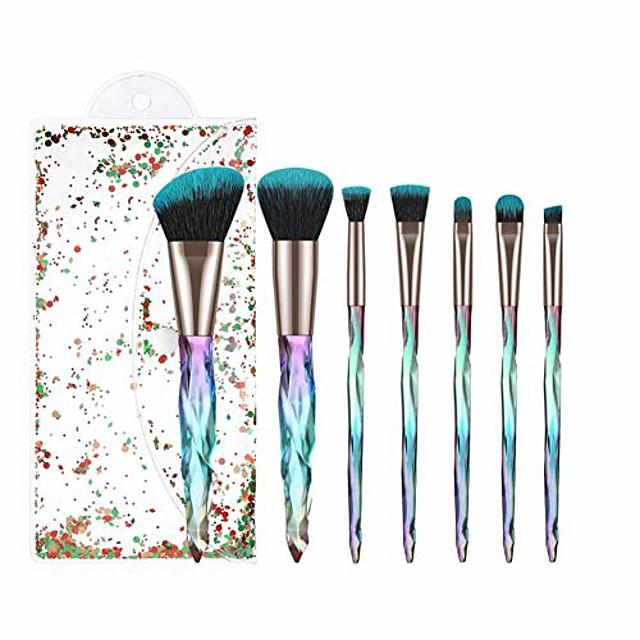 makeup brush set 7pcs crystal transparent handle kabuki powder foundation brush concealer eye shadow eyebrow brush for girls ideal beauty tool for women