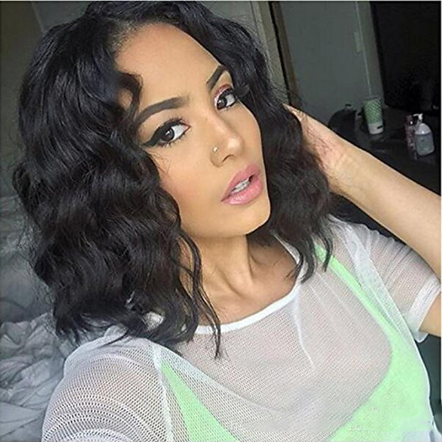 Synthetic Wig Curly Asymmetrical Wig Short Black Synthetic Hair 12 inch Women's Exquisite Comfy Fluffy Black