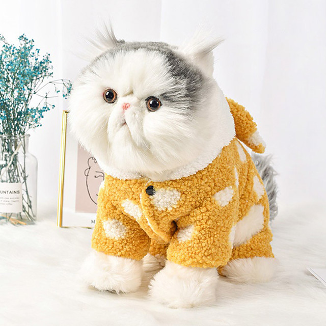 Dog Jumpsuit Pajamas Polka Dot Casual / Sporty Fashion Casual / Daily Winter Dog Clothes Puppy Clothes Dog Outfits Breathable Yellow Green Costume for Girl and Boy Dog Cotton S M L XL XXL
