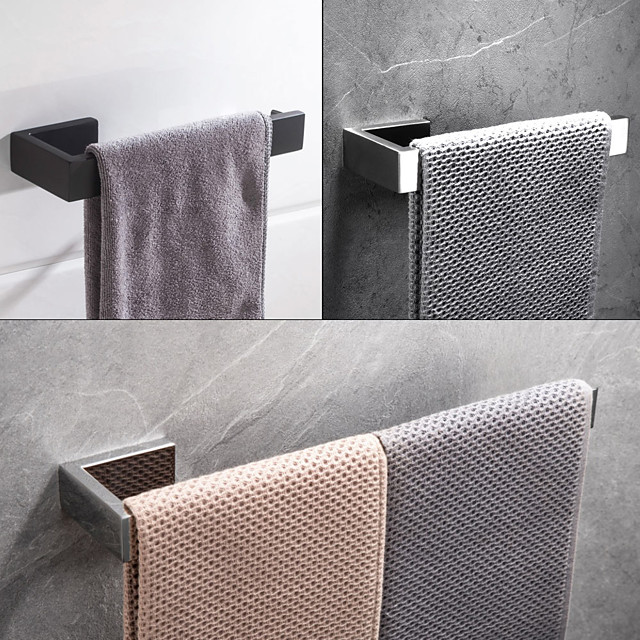 Towel Bar 304 Stainless Steel Wall Mounted Bathroom Single Rod Matte Black and Siverly 1pc