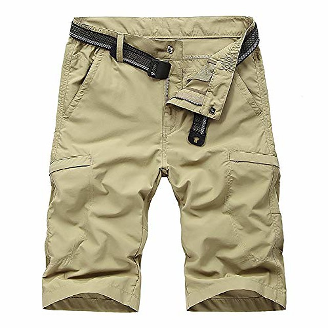 men's outdoor expandable waist lightweight quick dry shorts for hiking camping khaki 34
