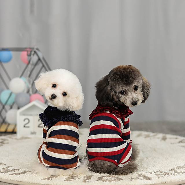 Dog Sweater Jumpsuit Stripes Casual / Sporty Fashion Casual / Daily Winter Dog Clothes Puppy Clothes Dog Outfits Breathable Red Blue Costume for Girl and Boy Dog Cotton S M L XL XXL